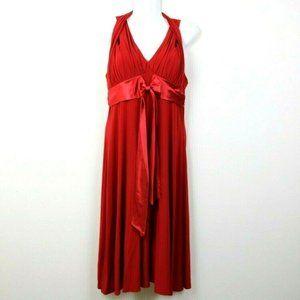 Jessica Howard Womens Dress V Neck Halter Bow Red